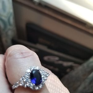 Silver Ring with Man Made Sapphire and CZ chips
